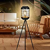 Solar Floor Lamp Outdoor Lights, Metal Tripod Solar Lamp Waterproof LED Big Solar Lantern Decorative for Patio Deck Lawn Yard Garden (Antique Grey)