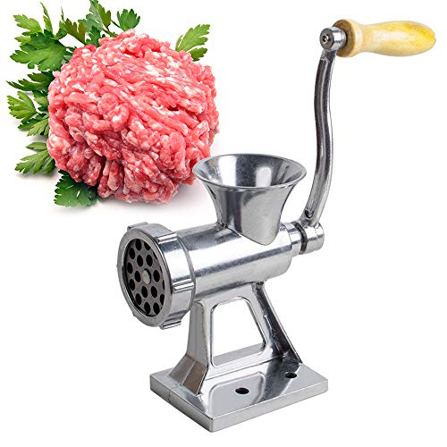 Manual Meat Grinder Multi-function Sausage Stuffer Machine Kitchen Tool Manual Mincer Grating Cheese, Making Bread Crumbs, etc (Silver)