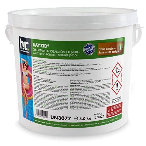 1 x 5 kg Chlor Tabs langsam löslich 200g für Pool und Schwimmbad