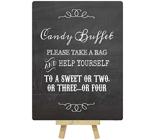 A5 Vintage Candy Buffet Metal Table Sign Printed With Chalkboard Effect With Easel - Classic Design