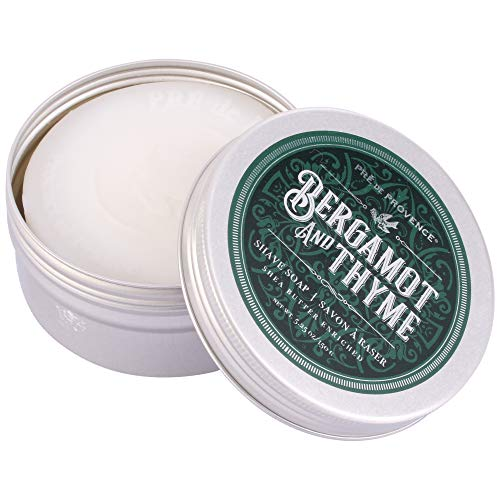 Pre de Provence Men's Shave Soap Enriched with Natural & Repairing Shea Butter (150g) - Bergamot & Thyme