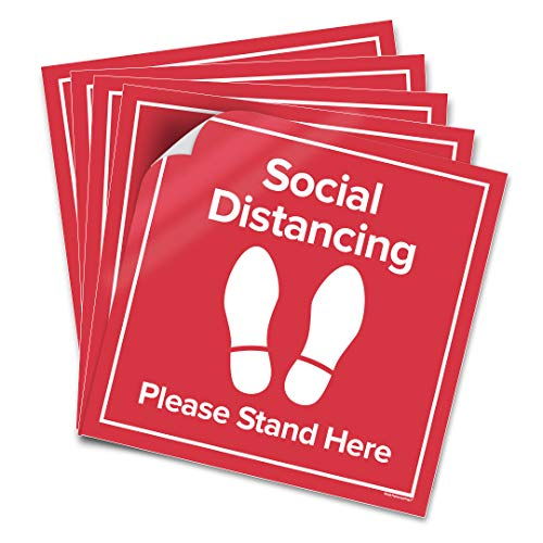 6 Pack 11x11 - Social Distancing Floor Decal Sticker - Please Stand Here 6 Feet Apart - Non-Slip Commercial Grade Sign - Safety Distance for Grocery Stores, Hospitals (Red - Version 2)