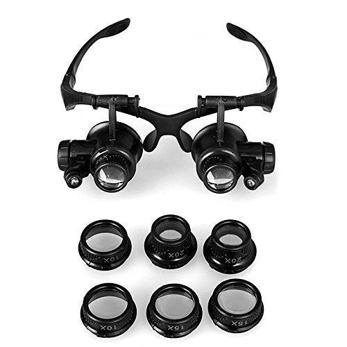 GuDoQi® 10X 15X 20X 25X Lupa LED/Gafas de doble ojo/Lente de lupa/Joyero Reparación Lupa/Con 2 luces LED Herramientas
