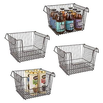 """mDesign Stackable Metal Food Storage Basket, Handles, 12.5"""" W, 4 Pack by"""