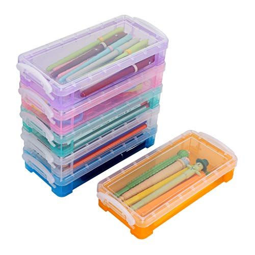 BTSKY 6 Colors Large Capacity Pencil Box with White Buckles, Office Supplies Storage Organizer Box, Brush Painting Pencils Storage Box Watercolor Pen Container Drawing Tools