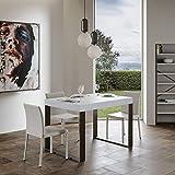 Itamoby, Mesa fija Tecno Fix, blanco fresno y marco antracita, 130 x 90 x 77 cm