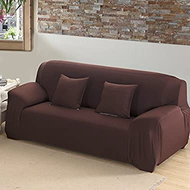 Scorpiuse Stretch Loveseat Cover 1-Piece Polyester Spandex Fabric 2 Cushion Couch Slipcover Chocolate