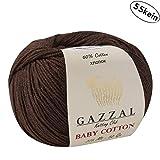 5 madejas (paquete) total 8.8 onzas. Gazzal - Hilo de algodón para bebé (50 g), 180 años (165 m) Brown - 3436
