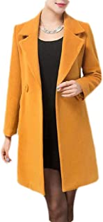 Macondoo Womens Slim Thickened Classical Woolen Blend Peacoats Outwear
