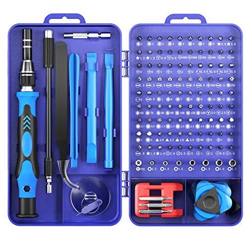 Mini juego de destornilladores 122 en 1 juego de destornilladores de precisión, juego de herramientas, juego de mecánica de precisión para iPhone, computadora portátil, tableta, cámara (azul)