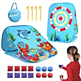 Bean Bag Toss Game Toy for 2 3 4 5 Year Old, Indoor Outdoor Collapsible Three-sided Game Sets for Toddlers Kids Ages 4-8, Birthday Easter Gift for Boys Girls, Include 8-Beanbags 6-Sticky Balls
