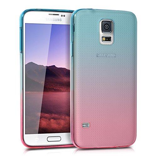 kwmobile Funda Compatible con Samsung Galaxy S5 / S5 Neo - Carcasa de TPU Bicolor - Rosa Fucsia/Azul Mate