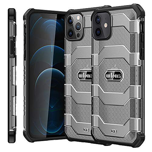 Wlons Designed Compatible with New iPhone12/12pro 6.1inch Case 2020, [Military Grade Drop Tested] Matte Hard Translucent PC Back Cover with Flexible TPU Frame, Shockproof Cover Case(Black)