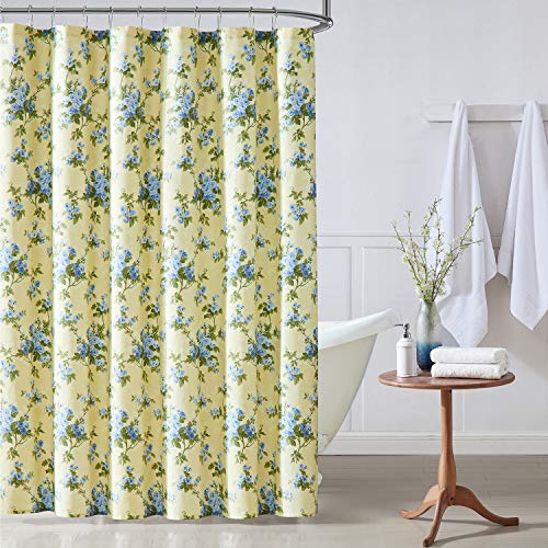 Laura Ashley Home   Cassidy Collection   Shower Curtain-100% Cotton & Lightweight, Stylish Floral Design, Machine Washable for Easy Care, 72 x 72, Soft Yellow