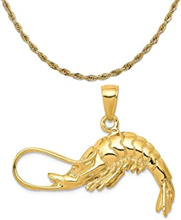 Mireval 14k Yellow Gold Polished 3-Dimensional Shrimp Pendant on 14K Yellow Gold Rope Necklace, 16
