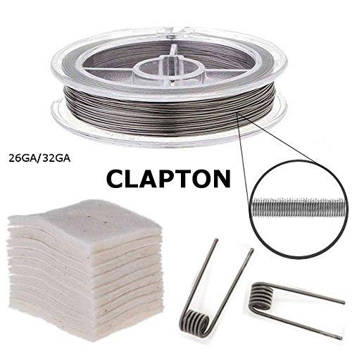 RBA Selbstwickel Verdampfer Zubehör Set, Japanische Bio Baumwolle + Heizwendeldraht (Clapton, 26GA+32GA)