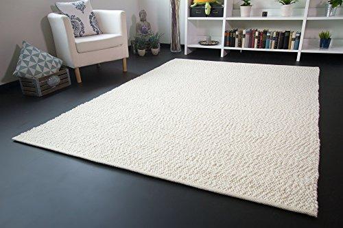 Handweb Teppich Lindau - Jutekern mit gewalkter Schurwolle in Wollweiß, Größe: 140x200 cm