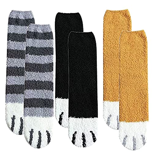 MQDL Cat Paw Socks, Women S Animal Socks, Cute Cat Paw Socks, Super Soft Fluffy Socks, Coral Fleece Socks, Womens Cute Ankle Socks (E 6pcs)