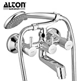 ALTON Grace 3795 Brass 2 in 1 Wall Mixer With Crutch & 5 Flow Hand Shower With 1.5 Meter Flexible Tube (Chrome)