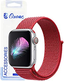 Ozone Nylon Strap For Apple Watch 44mm / 42mm with Hook and Loop Fastener For Series 4/3/2/1 - Red