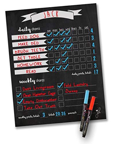 "Jennakate- Magnetic Chalkboard Design- Child Behavior Reward Chore Chart-Daily Household Chore Checklist-Job Chart- Dry Erase- 11""x14"" Dry Erase Markers"