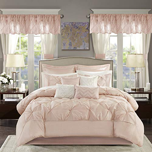 Madison Park Essentials Room in a Bag Faux Silk Comforter Set-Luxe Diamond Tufting All Season Bedding, Matching Curtains, Decorative Pillows, King(104'x92'), Blush 24 Piece