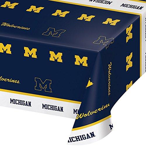 Creative Converting University of Michigan Print Tablecloth, 54'x108', Plastic Flag Banner