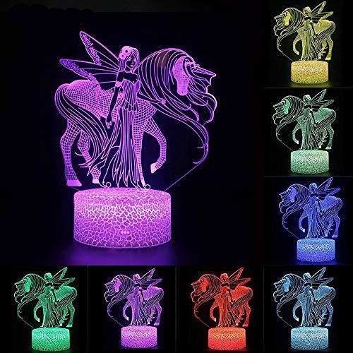Unicornio 3D Luz nocturna para niños, LED USB Luces nocturnas Ilusión Caballo Lámpara de mesa táctil Luces con control remoto para la decoración del partido Presentes de cumpleaños(Princess Unicorn)
