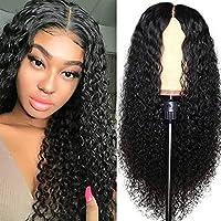 27インチカーリーウィッグレースフロントロングヘア150%密度ブラジル人間の髪のかつら黒人女性ブラック、70センチの黒人女性のためのウィッグのバージンヘアウィッグ LJMYQL (色 : ブラック, サイズ : 66cm)