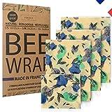 Bee Wrap (3+1 offert) Emballage Alimentaire réutilisable à la Cire d'abeille Made in France (+ Ebook offert). Cire 100% Naturelle, bio, ecologique. Kit zero dechet vegan pour soutenir une association
