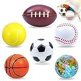 SwirlColor Pelota Blanda, Espuma Squeeze Fútbol Baloncesto Tenis Béisbol Rugby Tierra Bola Suave para Niños Jugando a Liberar El Estrés 6 Piezas