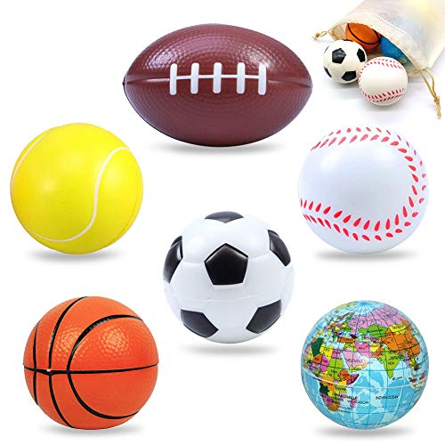 Balle Mousse, Squeeze Foam Football Basketball Tennis Baseball Rugby Terre Boule Souple pour Enfants Jouant Libération du Stress 6 pcs