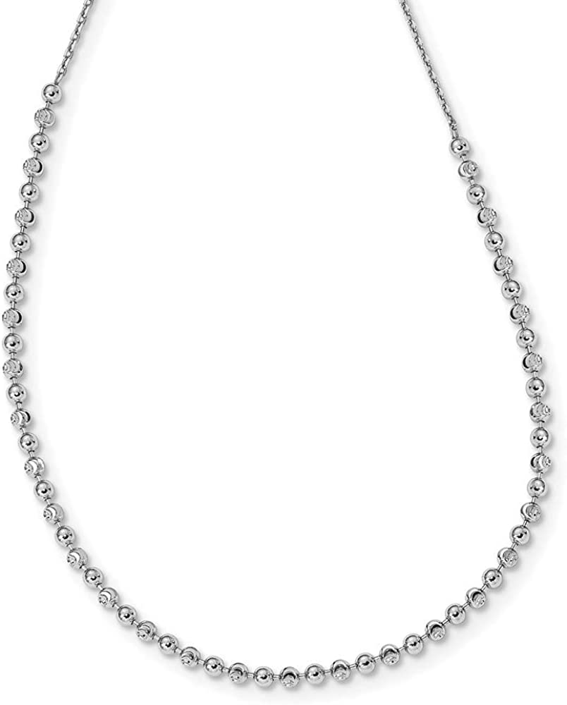 Chain Necklace White Sterling Silver Reservation Beaded Charlotte Mall 17 Ball in