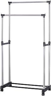 高さ伸縮パイプハンガーラック ダブル 耐荷重25kg 幅81×奥行32×高さ93-162cm スタイルハンガー 衣類整理 組立簡単