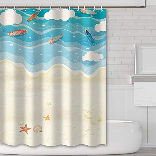 12Hooks 71*71inch Ink painting Boat and bamboo Shower Curtain Bathroom Fabric