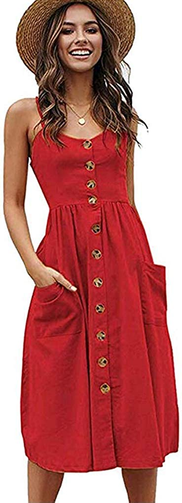 Halife Womens Summer Reservation Dresses New color Casual Spaghetti Floral Strap Butto