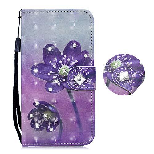 HMTECH Huawei Y6 2019 HulleHuawei Y6 2019 Handyhulle 3D Diamate Glitzer Lila Blume Flip Case PU Leder Cover Magnet Schutzhulle Tasche Stander Handytasche fur Huawei Y6 2019Diamond Purple Flower