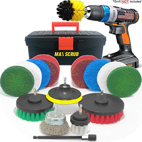 Max Scrub All in One Box Cleaning Kit - Cordless Drill Brush Attachment and Power Scrubber Pads forKitchen Surfaces Bathroom Shower Carpet GroutDeckTubGrillCleaner Set 18 Pack