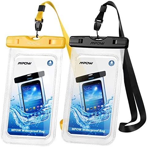 """Mpow Waterproof Phone Case, IPX8 Waterproof Phone Pouch Dry Bag with Portable Lanyard Compatible with iPhone 11/XS/XS Max/XR/X Galaxy S10/S9/S8 Up to 6.5"""", Suit for Beach, Hiking, Travel 2 Pack"""
