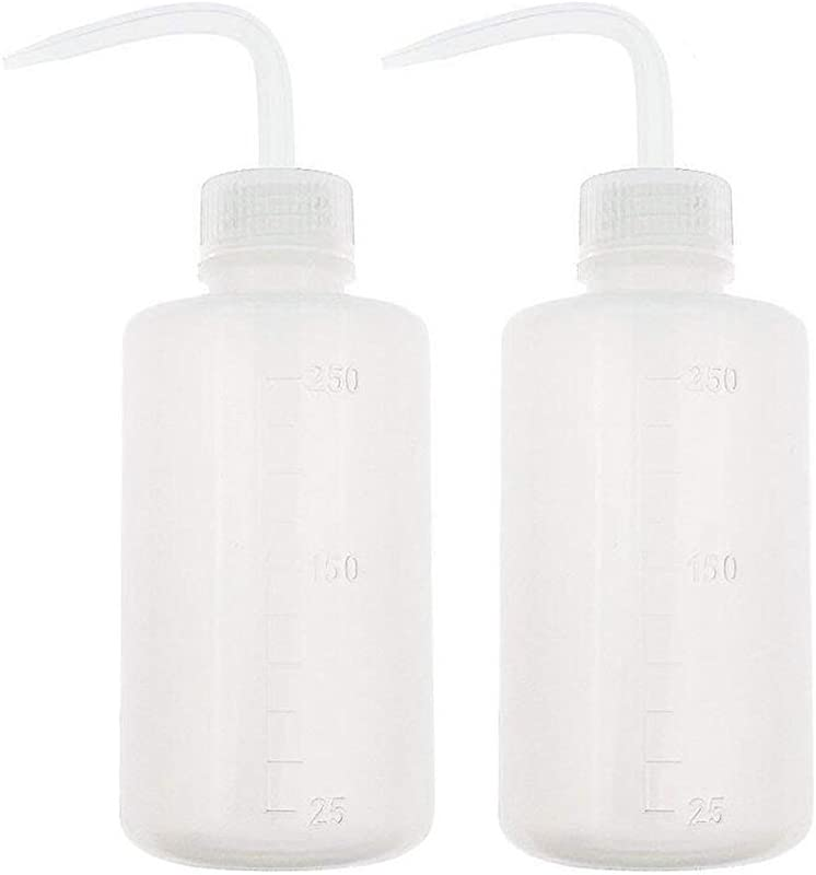 2PCS White PlasticSafety Squeeze Wash Bottles Bent Tip Oil Liquid Storage Holder Container Measuring Jars Wash Cleaning Soap Holder Can Pot Gardening Tools For Medical Label Supply 250ml 8 5oz