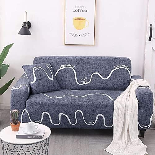 Fundas para sofá Funda para sofá, universal, de alta elasticidad, antideslizante, para sofá, curva, azul, impresa, todo incluido, funda para sofá, protector de muebles para sillón, decoración del