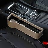 Sarah Duke Auto-Sitz Gap Storage Box PU-Leder-Side Pocket-Organizer Mit Münzfach Becherhalter Hilft Abgelenkt Driving & Verkleinerung Hält Telefon Geldkarten Keys Fern (Beige-Links)