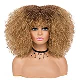 Afro Wigs for Black Women Curly Afro Wig With Bangs Blonde Ombre Wig Short Afro Kinky Curly Wig 14 Inch Synthetic Hair Replacement Wigs (14 Inch, 33/27)