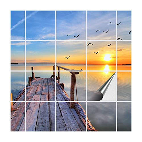 FoLIESEN Fliesenaufkleber für Bad und Küche | Fliesenposter Abend am See | Fliesengröße 15x15 cm | Fliesenbild 24 TLG. - 90x60 cm (BxH)