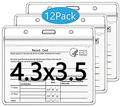 12 Pcs- CDC Vaccination Card Protection 4 X 3in Vaccine Card Holder PVC Immune Record HD Transparent Sleeve with Waterproof Sleeve, resealable Zipper