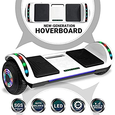 Beston Sports Newest Generation Electric Hoverboard Dual Motors Two Wheels Hoover Board Smart self Balancing Scooter with Built in Speaker LED Lights for Adults Kids Gift (White) (Renewed)