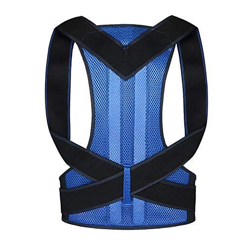 Corrector de Postura de la Espalda para Hombres y Mujeres, Plancha de Espalda Ajustable para Soporte de Hombro, Alivio del Dolor de Espalda y Cuello,Blue,S