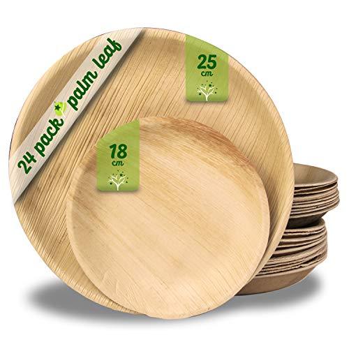 Platos desechables de hoja de palma 24 Piezas, 12 Platos redondo de...