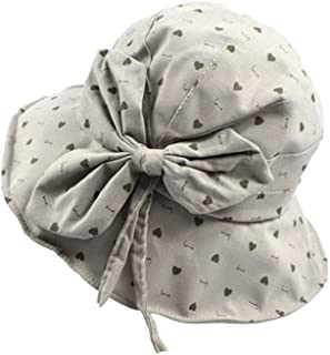 Collapsible Basin Cap Straw Hat Big Bow Cotton and Linen Visor Visor Female Wild Wire Sunscreen Fisherman Hat (Color : Gray, Size : M (56-58cm))