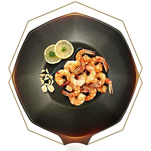 HJUYV-ERT Olla de Cocina Wok de anís Estrellado, sartén Antiadherente de Piedra para el hogar, sin Aceite, Humo, Gas y Olla de inducción, Utensilios de Cocina